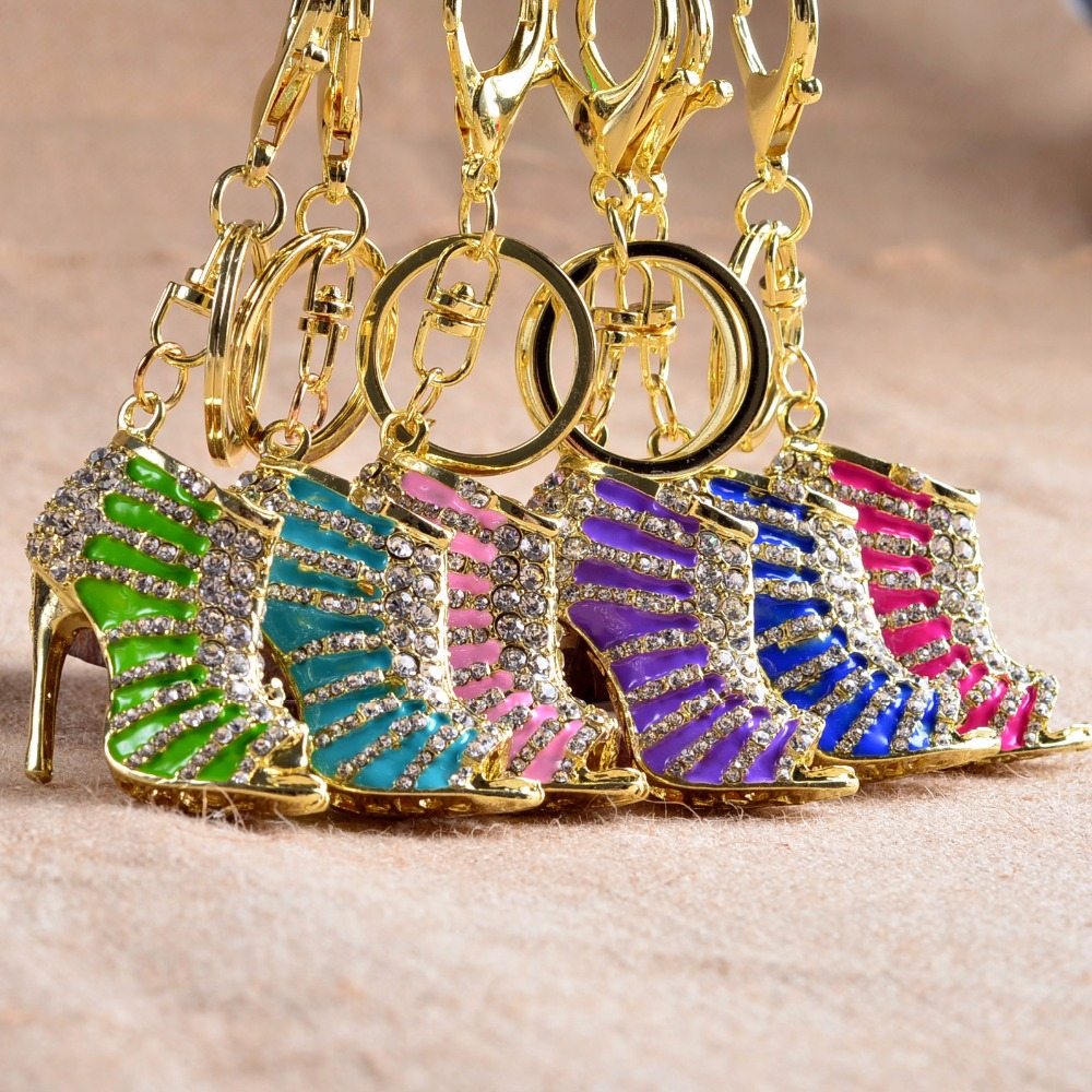 Hot Women Bag Accessories Crystal High Heel Rhinestone Keychain Purse Pendant Shoes Ring Holder Chains Key Ring Gifts S1012(China (Mainland))