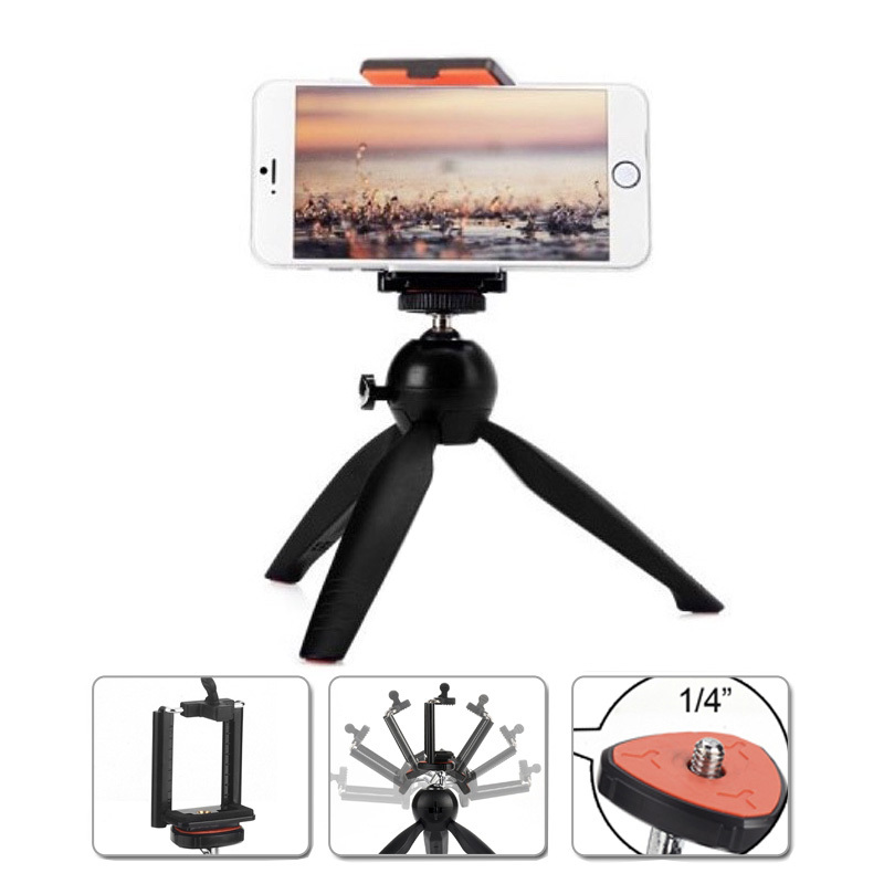 Yunteng C228 228 Mini Tripod Phone Holder Clip Desktop Tripod For Digital SLR Camera Cellphone Smartphone
