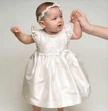 White Lovely Baptism Gown Birthday Dress Vestido Baby Girl Christening Gowns Girls Dress 0-24 Month With Headband Hat(China (Mainland))