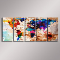 World Map painting Oil Painting  100% Hand Painted Modern Wall Art Painting ,Abstract  oil painting WM-004