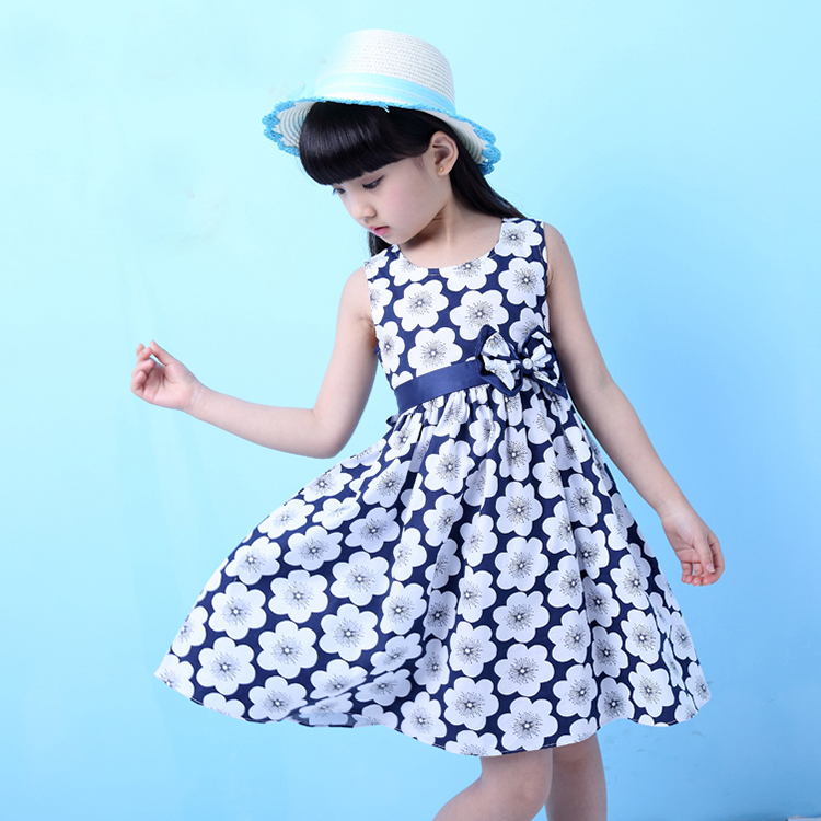 Teenage Girls Fashion Sleeveless Princess Dress 100% Cotton Dress for Girls for 8T-16T Girls A line Baby Girls Clothing CA020(China (Mainland))