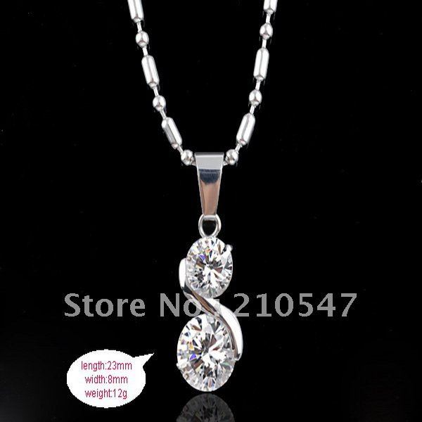 fashion 316L stainless steel two zircons pendant and necklace fashion pendant jewelry best gift for lover DZ134