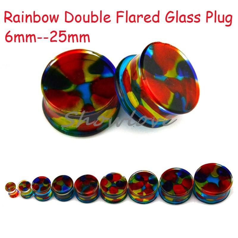 Showlove-20pcs Organic Rainbow Glass Double Flared Glass Ear Saddle Plugs Expander Guage Piercing 6--25mm Flesh Tunnel Piercing(China (Mainland))