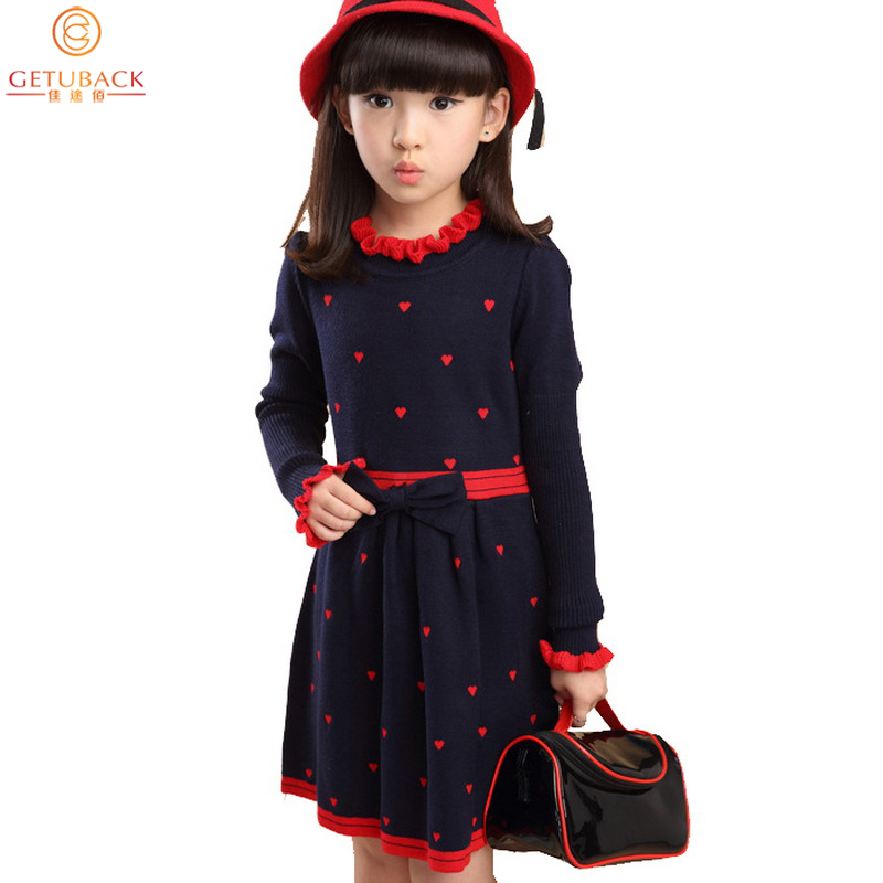Winter 2015 New Girls Princess Sweater Dresses Kids Knitted Dot Party Dresses Girls Sweet Dresses For Wedding with Bow , LC553<br><br>Aliexpress