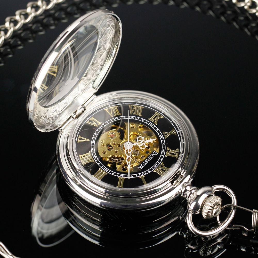 Pacifistor SILVER Steel Luxury Classy Mechanical Skeleton Hand Winding Chain Pocket Watch Fashion Pendants NEW(Hong Kong)