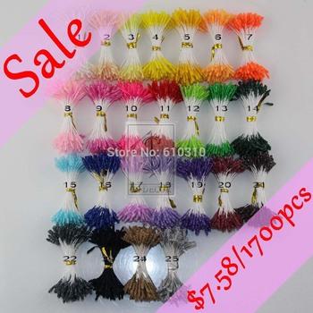 25 Colors Mixed 3MM glass flower stamen pistil Twist Picked Wedding Decoration $2.99=850pcs