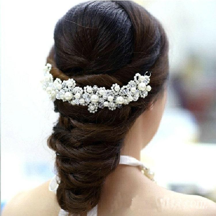 New Korean hair White pearl crystal bride headdress by hand Wedding dress accessories bridal hair jewelry 1pcs Free Shipping(China (Mainland))