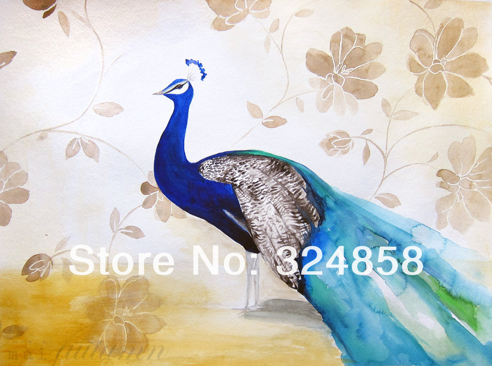 Watercolor peacock painting floral bird wall art for Bird wall mural