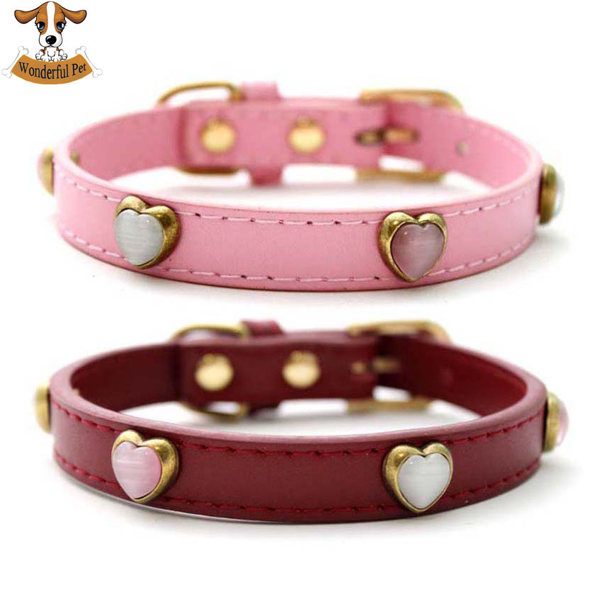 2015 New Arrival Small Pet Dog Collars Leads Heart Opal Diamond Genuine Leather Cat Collars Necklace Wine red & Pink S/M/L/XL(China (Mainland))