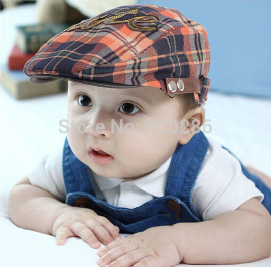 Free shopping 2015 Spring and Autumn Kids Fashion Berets Plaid Hats For Baby Boy And Girl Hat And Cap 4 Colors(China (Mainland))