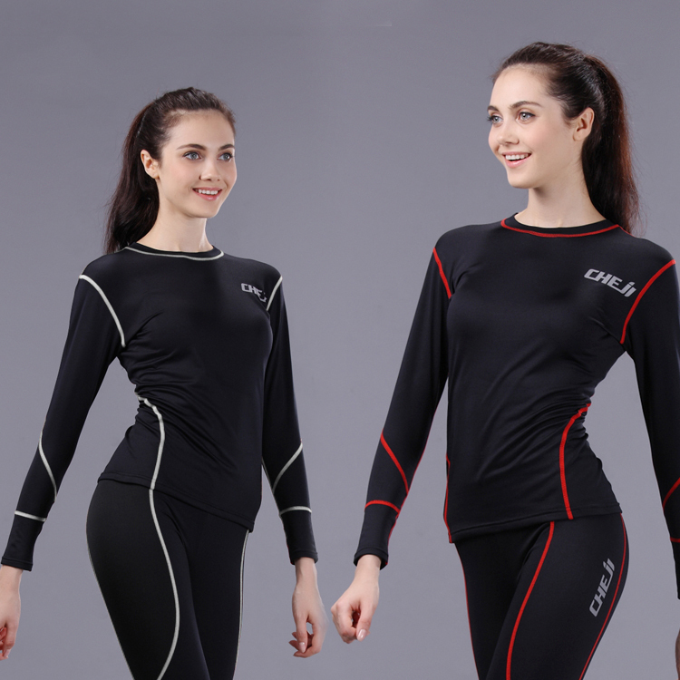 Women's Cycling Bike Bicycle Skin Tight Fleece Base layer Long sleeve Under Jersey & Pants Set Red/White Line