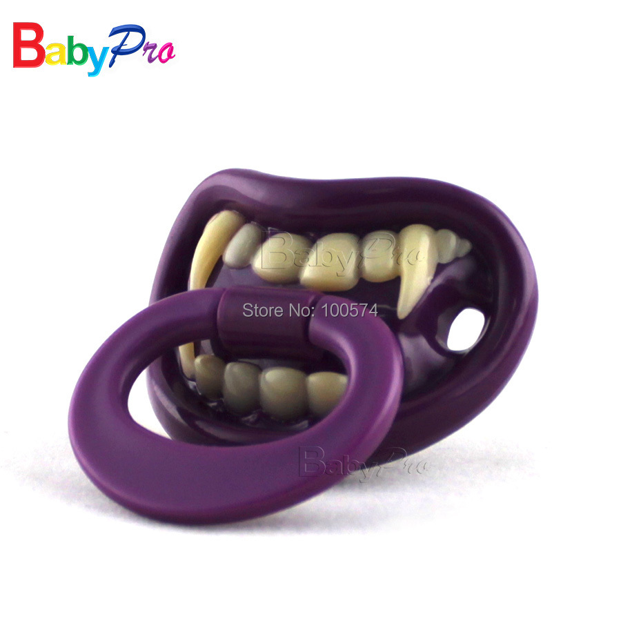 Babypro Partypro 2016 Promotional Free Shipping 10pcs/lot Silicone Funny Baby Pacifier Baby Soother Dummy Vampire Pacifier(China (Mainland))