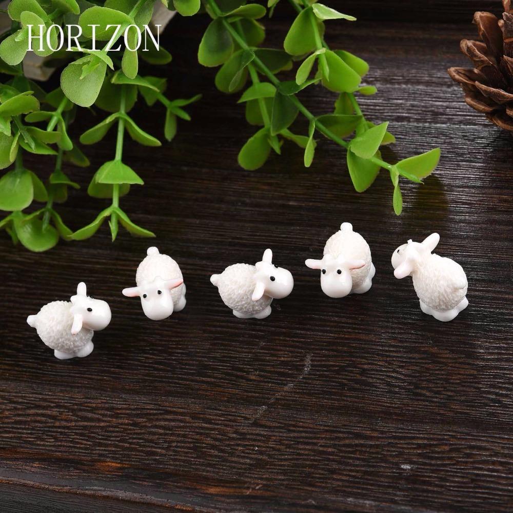 5Pcs / Set Kawaii Mini Sheep Animals Home Micro Fairy Garden Figurines Miniatures Home Garden Decor DIY Accessories(China (Mainland))