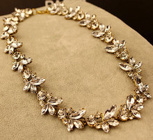 Fashion Jewelry Maxi Necklace Crystal Leaf Statement Necklaces & Pendants Gold/Silver Collares for Women Accessories(China (Mainland))