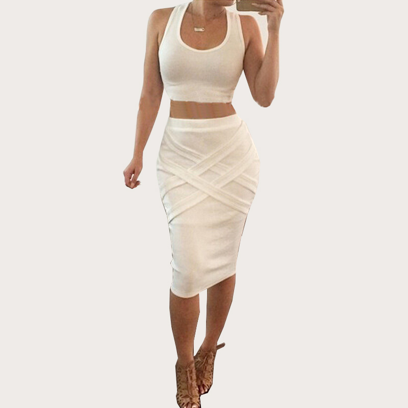 2016 Hot Sale New Spring Summer Woman Dress Two-Piece Sexy Package Hip Bandage Sexy Fashion Party Large Size Cotton White A55(China (Mainland))
