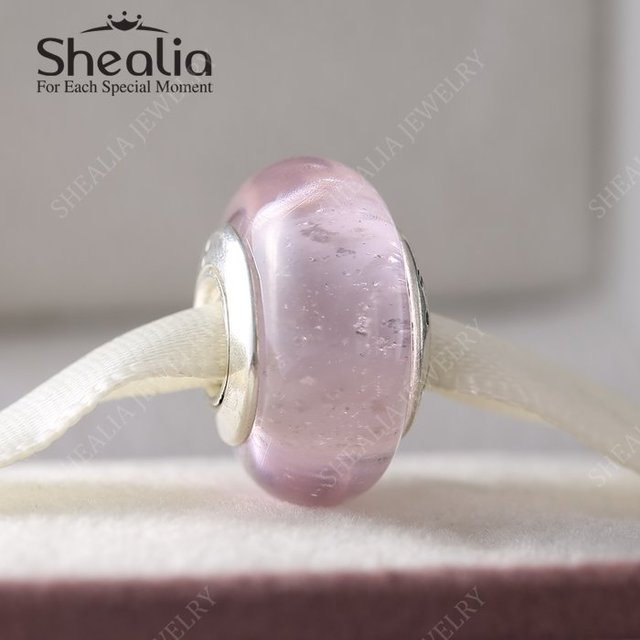 2016 весной новый авроры подпись муранского стекла подвески стерлингового серебра 925 розовый стеклянные бусины для изготовления ювелирных изделий DIY MG058