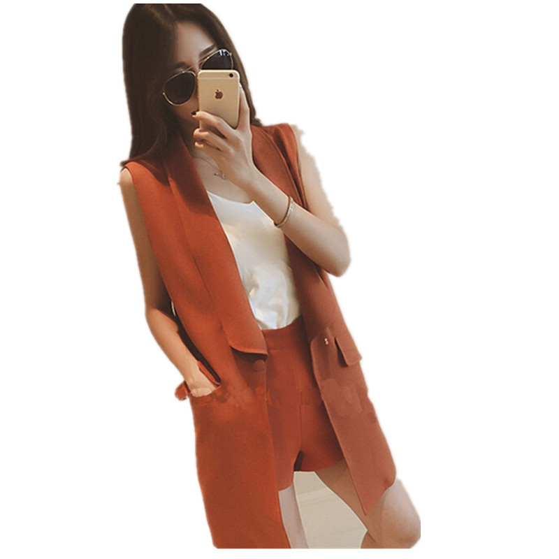 -Fall 2015 Korea new long in two pockets sleeveless suits one button vest womenОдежда и ак�е��уары<br><br><br>Aliexpress