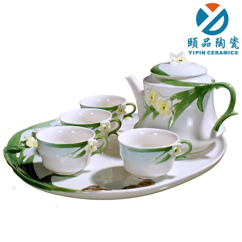Ceramic tea set kung fu tea set tea set ceramic tea set porcelain enamel w01