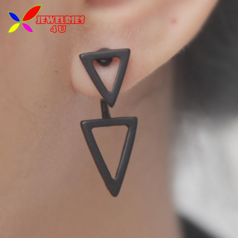 2015 Back Front Earrings Fashion Designer Gold Silver Black Alloy Double Triangle Circle Earring For Women bijoux brincos(China (Mainland))