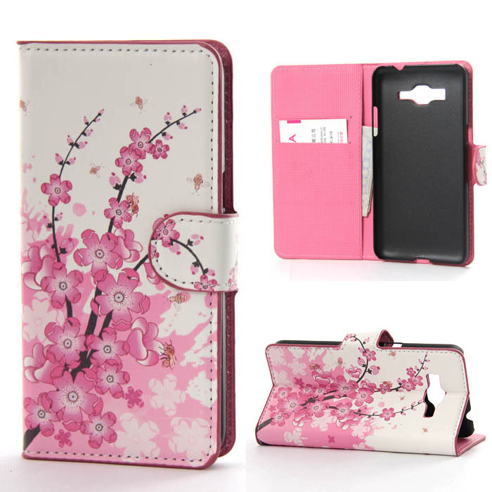 2015 Pink Plum pattern Flip phone Cover case For Galaxy Gran Prime Duos SM-G530H case phone cases Wallet Card Holder 2 Style(China (Mainland))