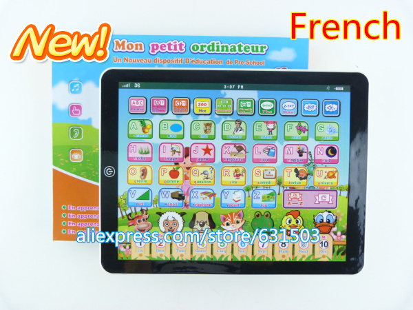 French language children's musical computer pad kids learning laptop educational toys - fishtoys store