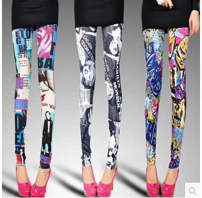 Europe and America Leopard Leggings Pants Suit New Graffiti Legging Slim Was Thin Big Yards JK01010230(China (Mainland))