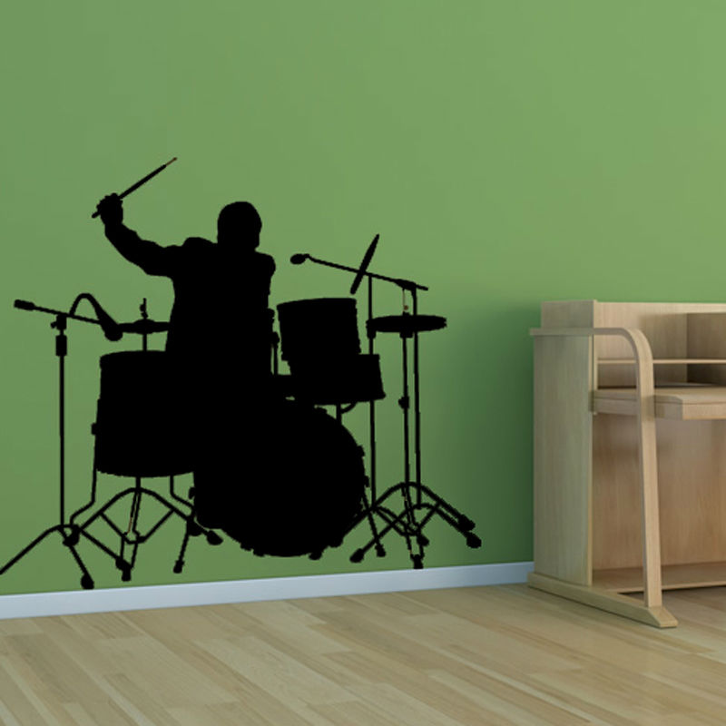 MM60 A Band Drummer Beating Drums Wall Stickers PVC Kids Bedroom Removable Home Decor Wall Mural