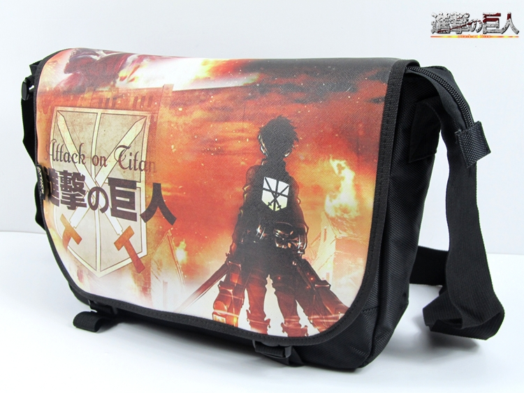 Attack On Titan Messenger Bags Eren anime cartoon single shoulder bag Nylon cover school bag(China (Mainland))