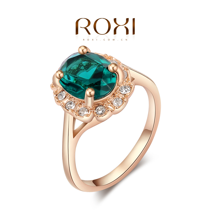 ROXI Exquisite women wedding Ring, Green Stone Alloy Gold rings,Valentine's Day/Christmas/Birthday gift,wholesale,free shipping(China (Mainland))