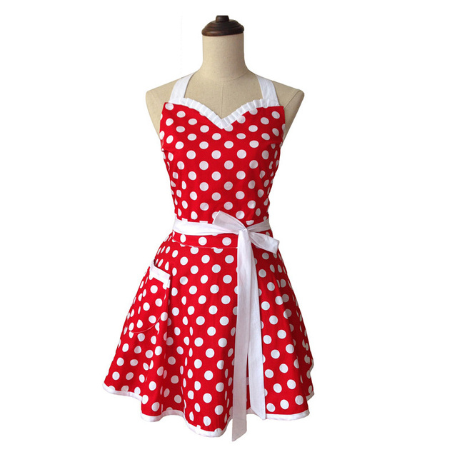 Sweetheart Retro Kitchen Apron Woman Cotton Polka Dot Cooking Salon Avental de Cozinha Divertido