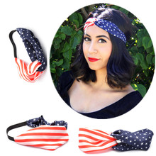 1 X Women Turban Headband 4th of July Headbands Headwrap Fashion Elastic Hair Bands Bandana Turban Hair Accessories