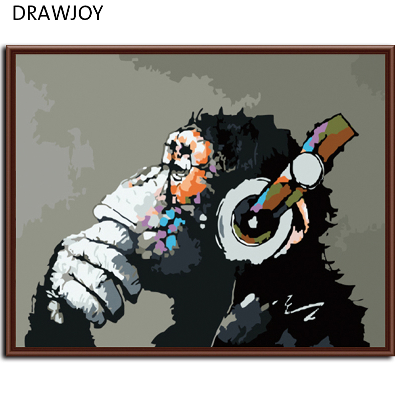 DRAWJOY New Home Decor Framed Pictures Painting By Numbers DIY Digital Oil Painting On Canvas Wall Art Abstract Monkey G178(China (Mainland))