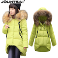 2015New Parka Girls Coat Long Down Big Fur Collar Winter Jacket For Girls High quality Kids