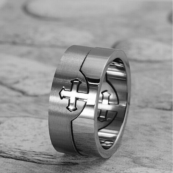 New Design 2 parts Men Cross Silver 316L Stainless Steel Finger Ring Jewelry Gift Fashion Style Patty Funny Creating Women(China (Mainland))