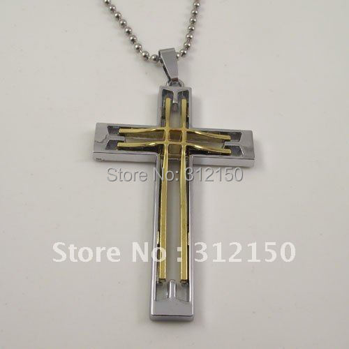 10pcs/lot Free Shipping Wholesale Fashion  Cross Pendant Hollow Out Cross Necklace stainless steel chain