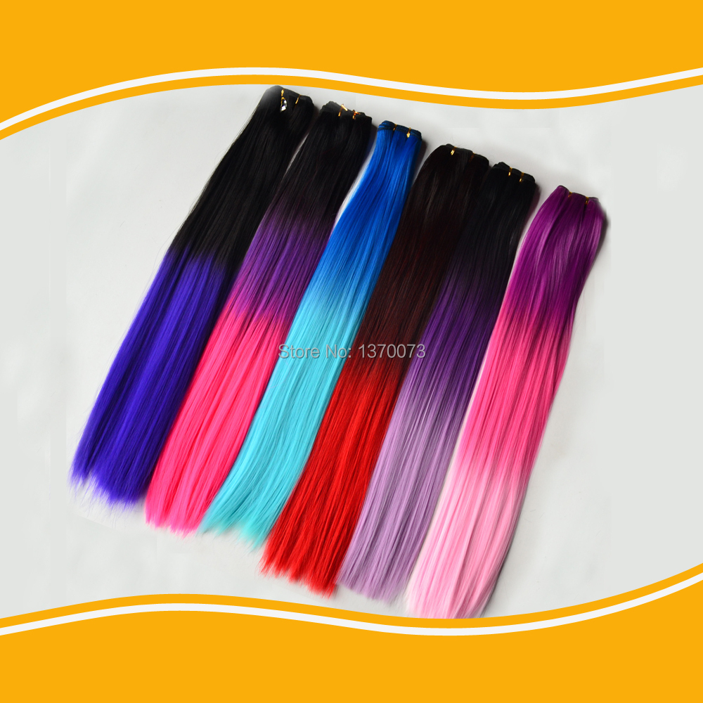 Cheap ombre synthetic hair weft straight hair weaving extension 22'' two tone heat resistant synthetic hair weave machine(China (Mainland))