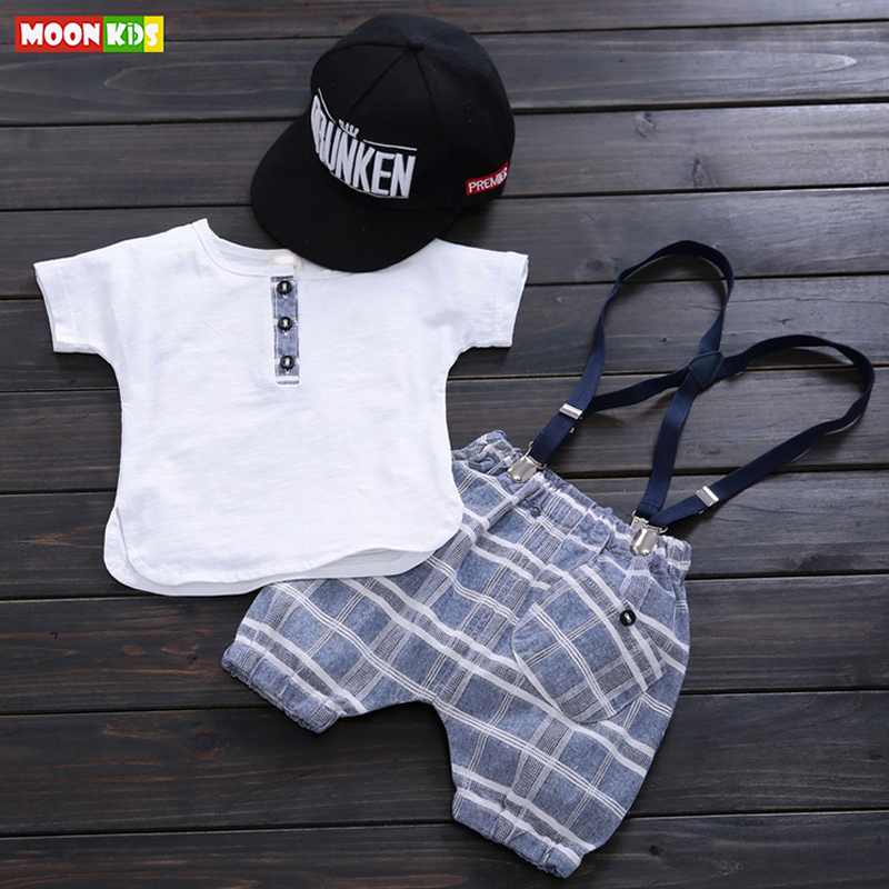 MOON KIDS Baby Clothing Sets Cotton Baby Kids Clothes Suit 0-2Y Newborn Short Sleeve T-shirt +Suspender Pants Summer Infant Sets(China (Mainland))