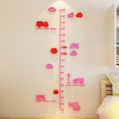 Cartoon wall stickers car traffic sign height stick wall sticker 3D stereo child height ruler(China (Mainland))