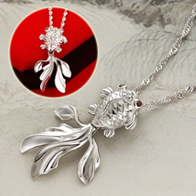 Fashion Goldfish Silver Fish Pendant Without Chain Diy Necklace Charm Jewelry Drop Shipping NL-0358(China (Mainland))