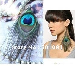 Fashion Tibetan Natural peacock feather earring National New Design Fashion Jewellery Peacock colorful earrings/ Free shipping