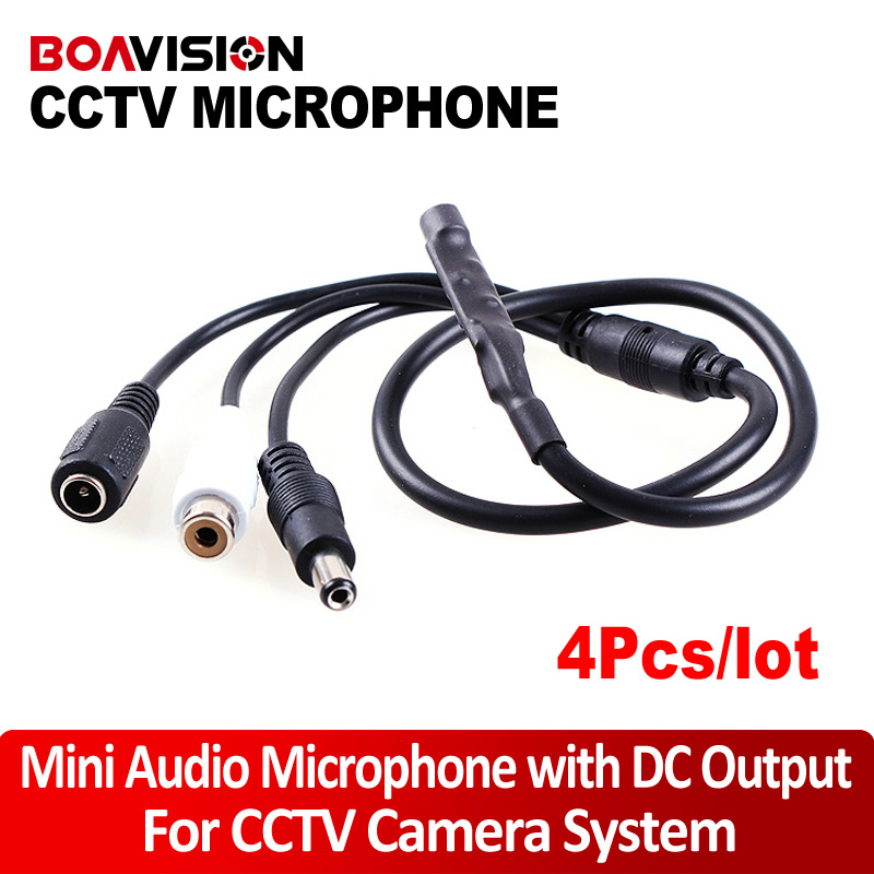4Pcs Audio pick up CCTV Microphone Wide Range Camera Mic Audio Mini Microphone with DC Output for CCTV Security DVR(China (Mainland))