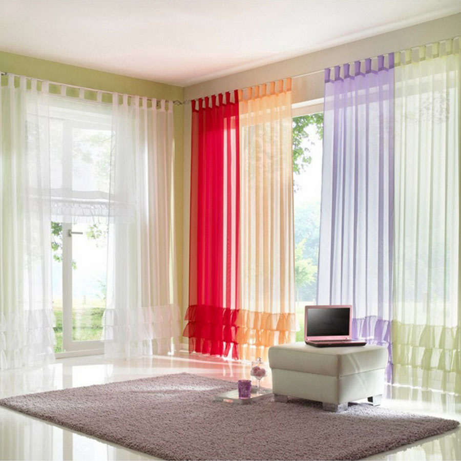 Ruffled voile colored sheer made to order for living room window curtains for bedding room decorative tab top tape top curtains(China (Mainland))