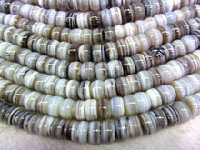 high quality 8×12-12x16mm 16inch handmade Botswana agate rondelle connector veins grey jewelry beads