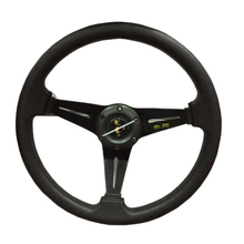 HANSBO 350MM Universal Black Genuine LeatherDeep Dish Drifting Sport Racing Steering Wheel Car-Styling Refit  Free Shipping!!!(China (Mainland))