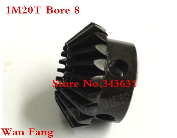 2PCS 1M20T Bevel Gear 0.5 Mod M=0.5 Modulus Ratio 1:1 Bore 8mm Brass Right Angle Transmission parts machine parts DIY(China (Mainland))