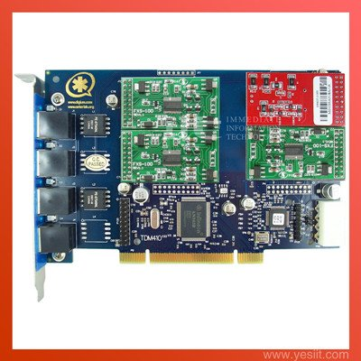 TDM410P 4 Ports with 1FXO & 3FXS modules  Asterisk card for VoIP IP PBX