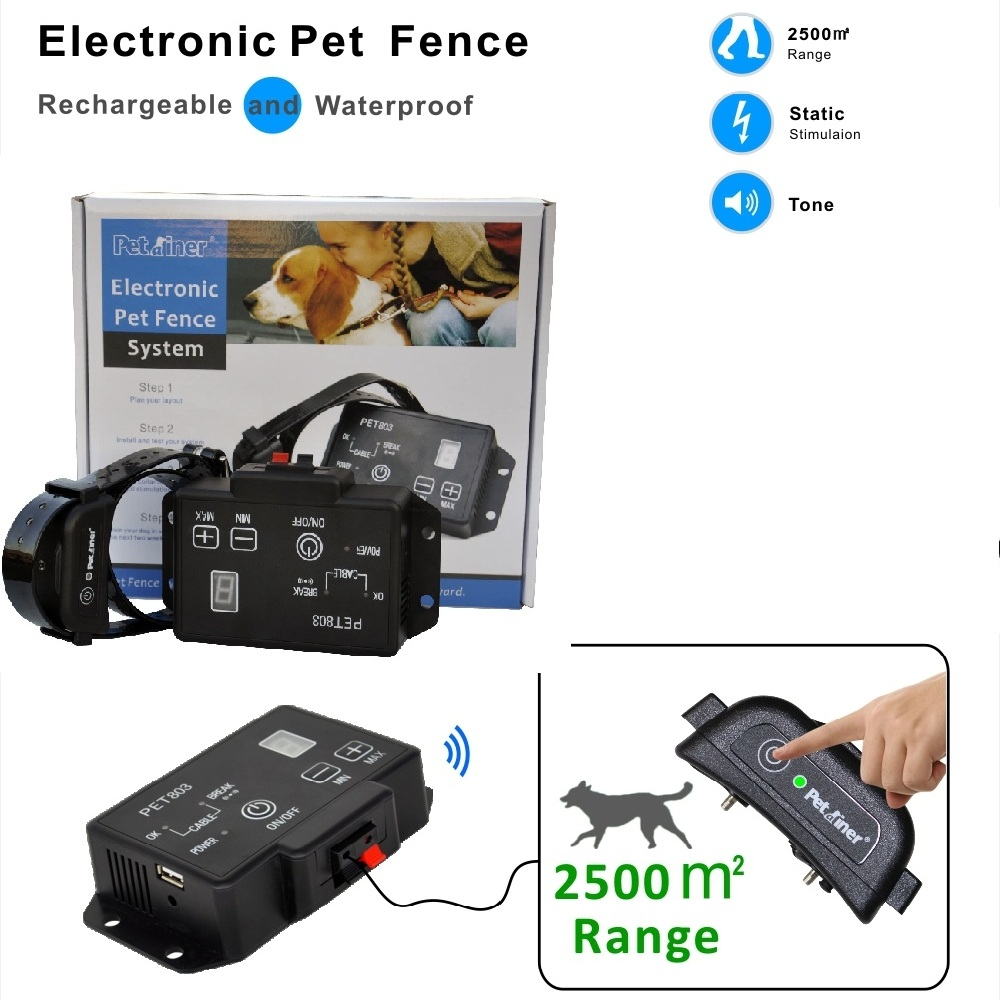 Newest type Petrainer PET803 Waterproof Rechargeable Electric Pet Fence Dog Training Collar(China (Mainland))