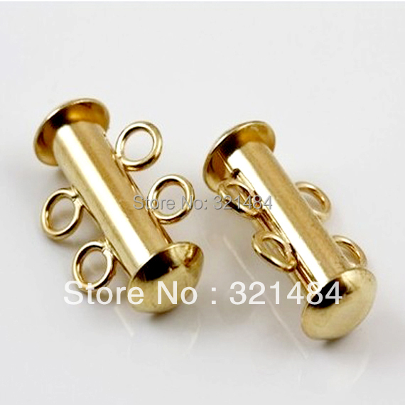 Free Shipping! 100piece Magnetic Slide Clasps Gold plated Tone w/ 2 Loops For Rows Strand Necklace/Bracelet<br><br>Aliexpress