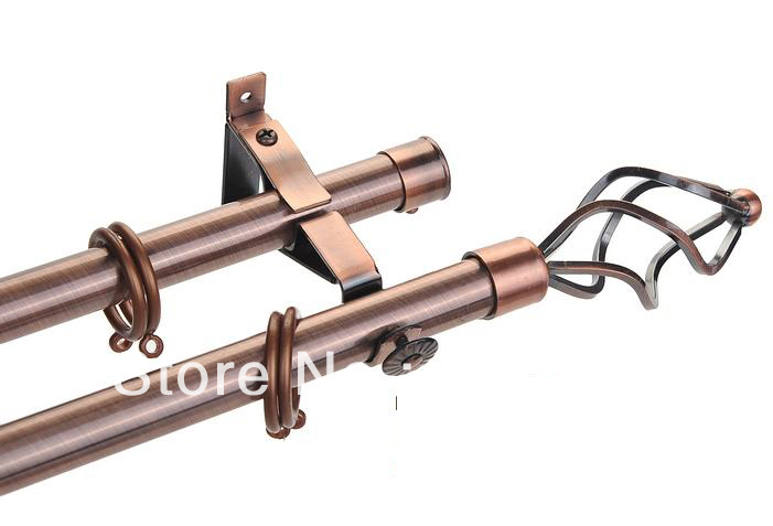 High quality 22mm(7/8inch) dia.&0.98mm thick double curtain rod set with steel cage finial by plating antique copper MOQ2M(China (Mainland))