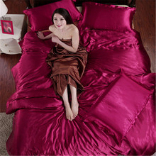 2016 New 100% Silk Luxury Embroidery Satin Jacquard Bedding Set bedclothes bed linen/sheet set Queen/King Size(China (Mainland))